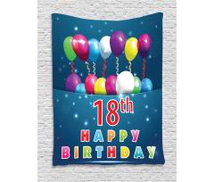 18 Birthday Balloons Tapestry