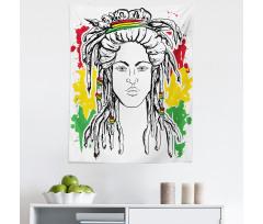Afrika Mikrofiber Duvar Halısı Hippi Kadın Desenli