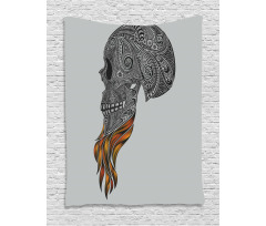 Abstract Art Skull Beard Tapestry