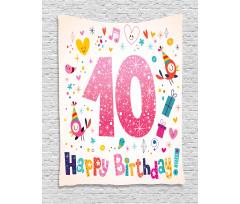10 Years Kids Birthday Tapestry
