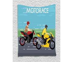 2 Bikers Racing Tapestry