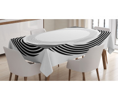 Abstract Art Theme White Tablecloth