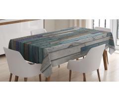 Blue Grey Planks Grunge Tablecloth
