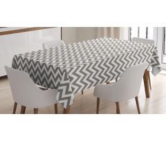 Masa Örtüsü Kahve ve Beyaz Zikzaklı