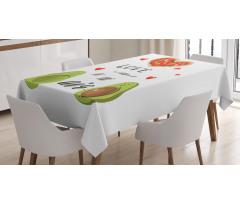 Avokado Masa Örtüsü Birbirlerine Aşık İki Sağlıklı Meyve Çift