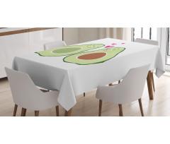 Avokado Masa Örtüsü Birbirlerine Aşık Sağlıklı Meyve Sevgililer