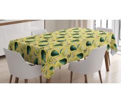 Avokado Masa Örtüsü Sulu Boya Tarzında Çizilmiş Sağlıklı Meyve