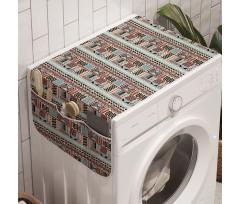 Afrika Çamaşır Makinesi Düzenleyici Üçgen ve Kareler ile Geometrik Etnik Desen