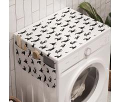 At Çamaşır Makinesi Düzenleyici Tekrarlanan Soyut Tasarım Tek Renk Hayvanlar