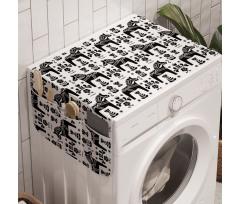 At Çamaşır Makinesi Düzenleyici Tek Renk Zeminde Sade Hayvan ve Bitki Çizimleri
