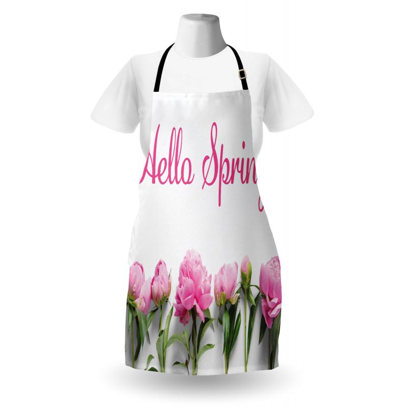 Bahar Mutfak Önlüğü Sıraya Dizilmiş Çiçekler ve İngilizce Söz