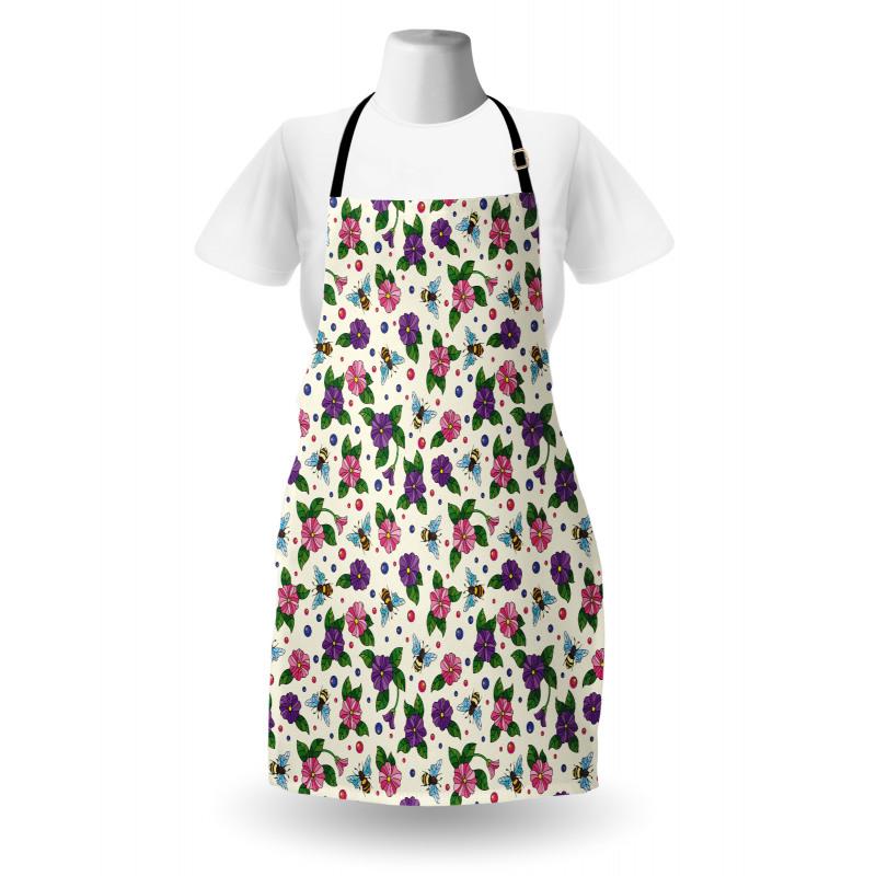 Bahar Mutfak Önlüğü Açan Tatlı Renkli Bahçe Çiçekleri ve Arılar