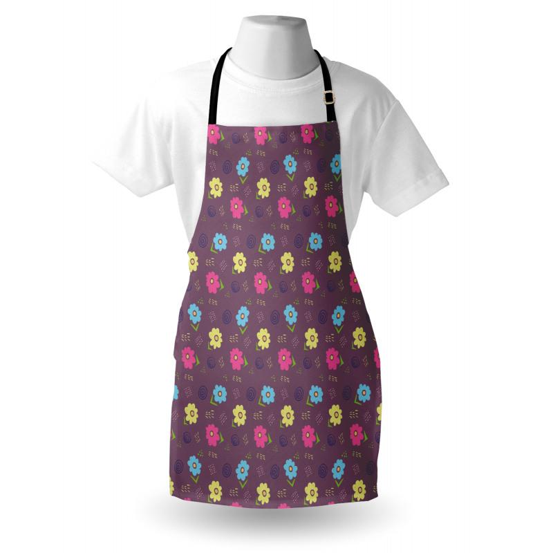 Bahar Mutfak Önlüğü Patlıcan Moru Arka Planda Rengarenk Çiçekler