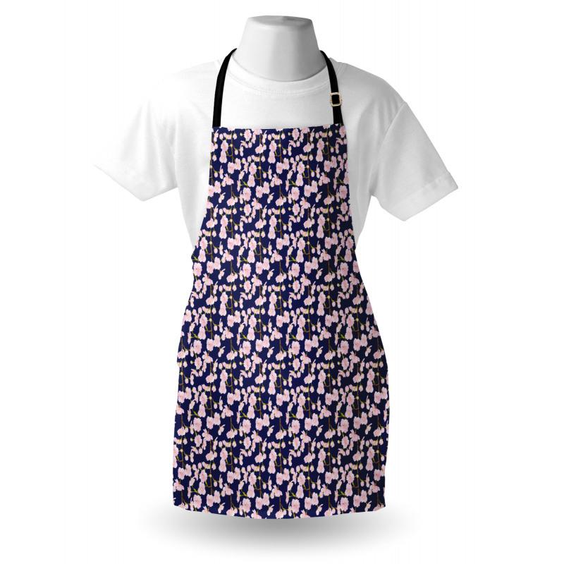 Bahar Mutfak Önlüğü Dallardaki Narin Pastel Elma Çiçeği Deseni