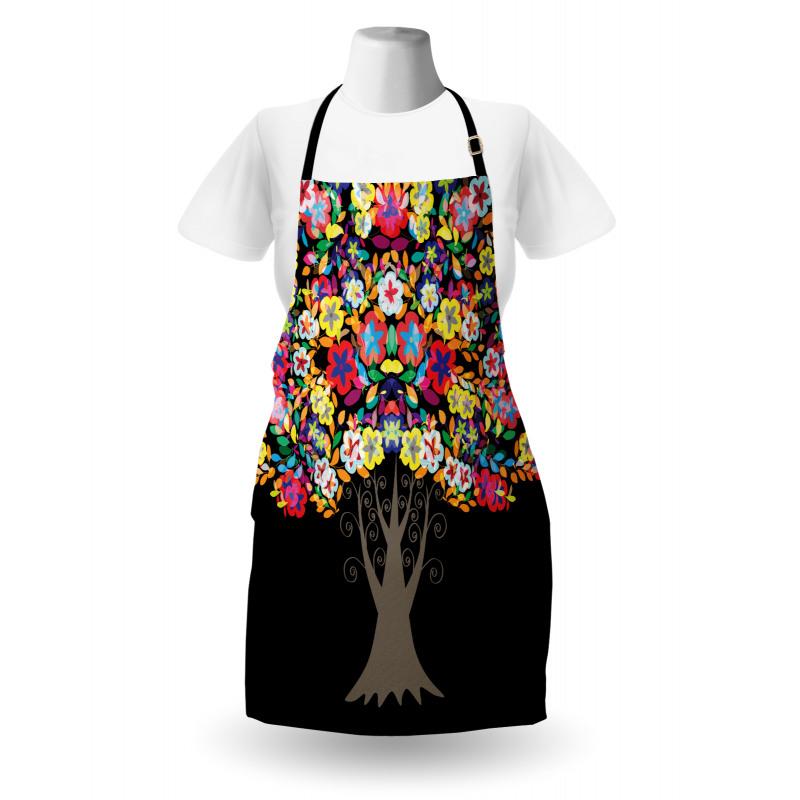 Bahar Mutfak Önlüğü Rengarenk Çiçekli Ağaç