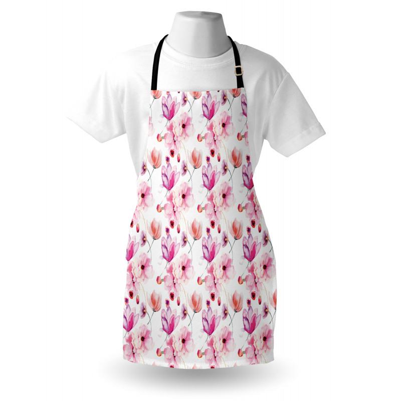 Bahar Mutfak Önlüğü Mor ve Pembe Çiçekli