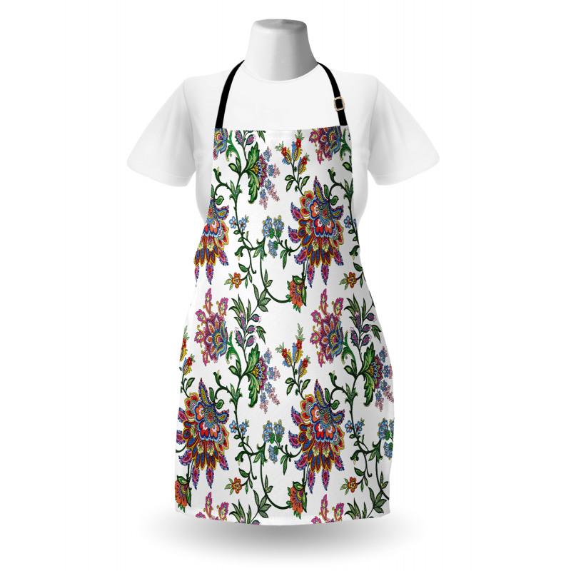 Bahar Mutfak Önlüğü Çiçekli Eşarp Desenli