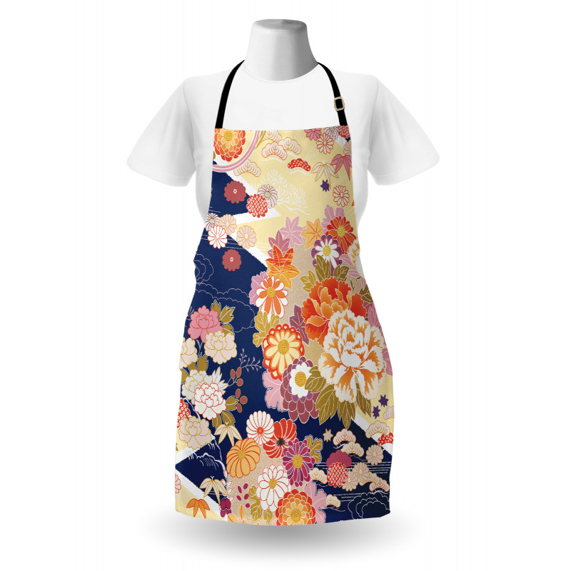 Asya Mutfak Önlüğü Turuncu Çiçek Desenli