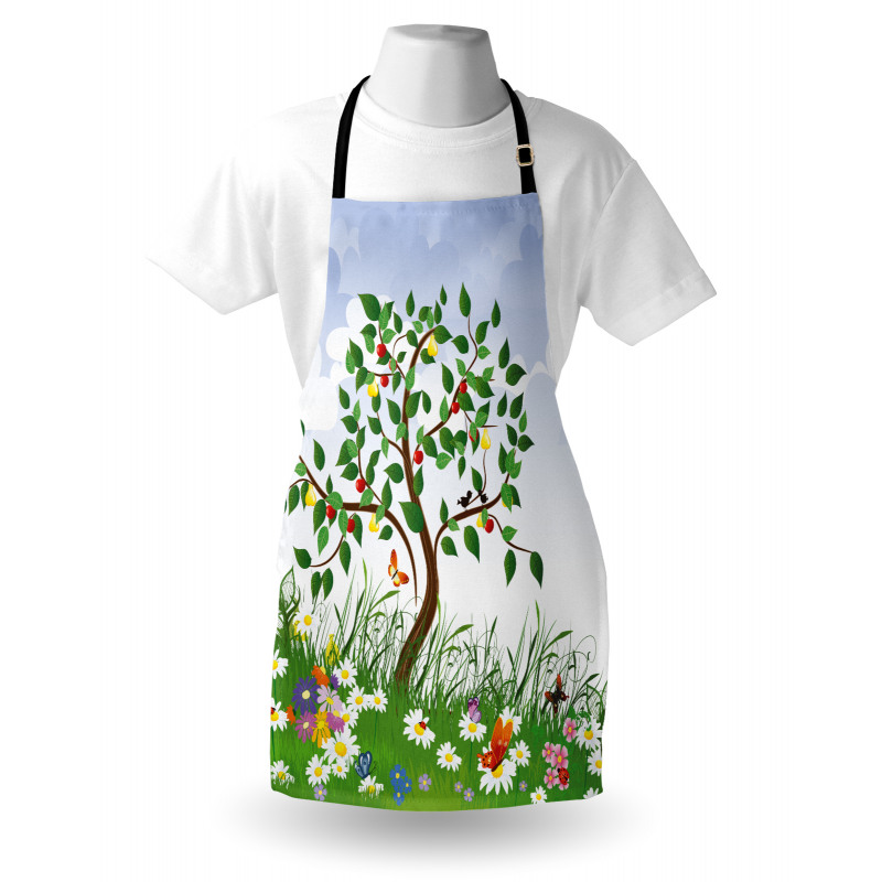 Bahar Mutfak Önlüğü Elma ve Armut Ağacı
