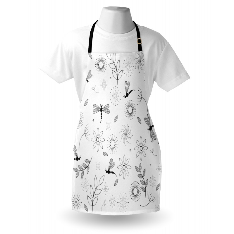 Bahar Mutfak Önlüğü Siyah Beyaz Yusufçuk