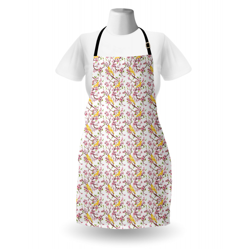 Bahar Mutfak Önlüğü Sade Çiçeklerin Arasında Duran Kuş Modeli