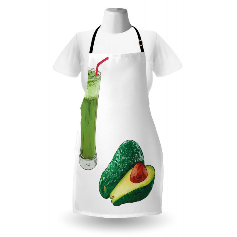Avokado Mutfak Önlüğü Sağlıklı Meyve ve Ondan Yapılmış İçecek