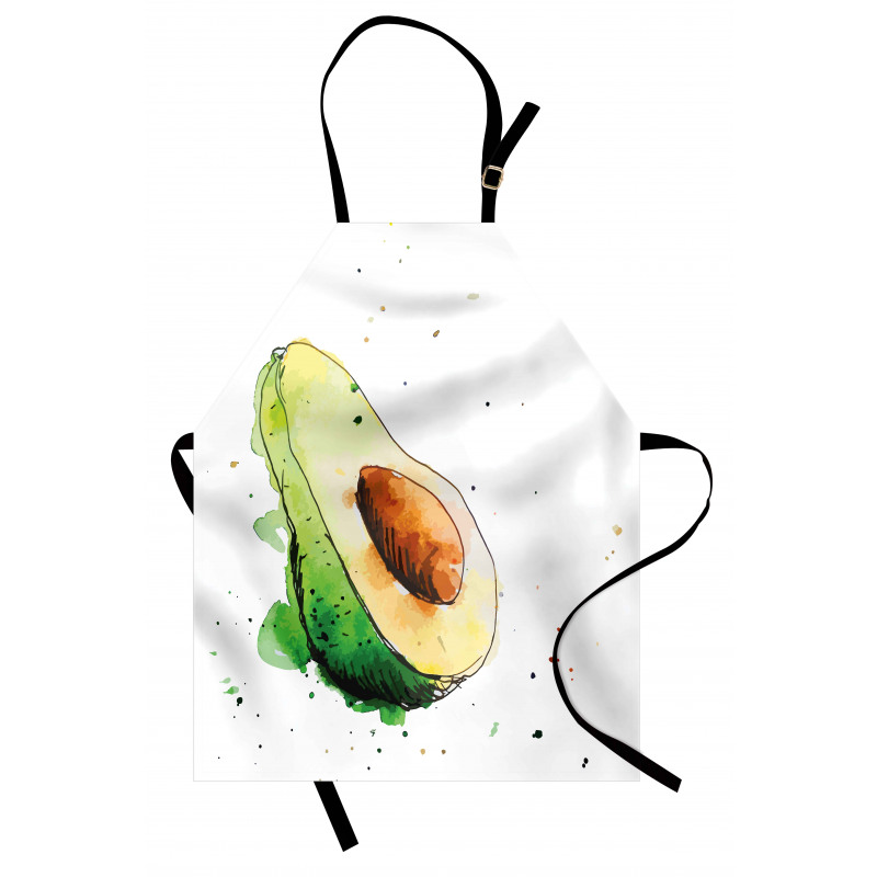 Avokado Mutfak Önlüğü Taze Sağlıklı Meyvenin İllüstrasyonu Model