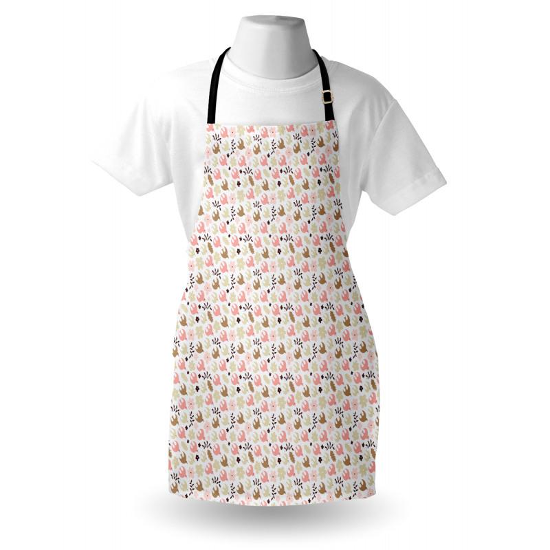 Bahar Mutfak Önlüğü Beyaz Fonda Renkli Kuşlar Çiçekler Yapraklar