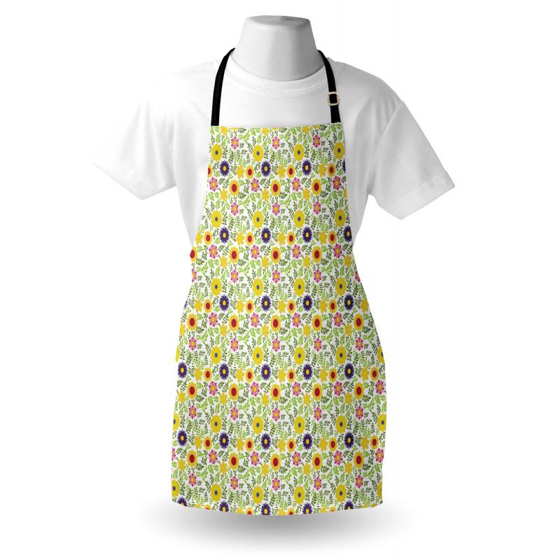 Bahar Mutfak Önlüğü Pembe Sarı Mor Çiçekler Yeşil Yapraklar