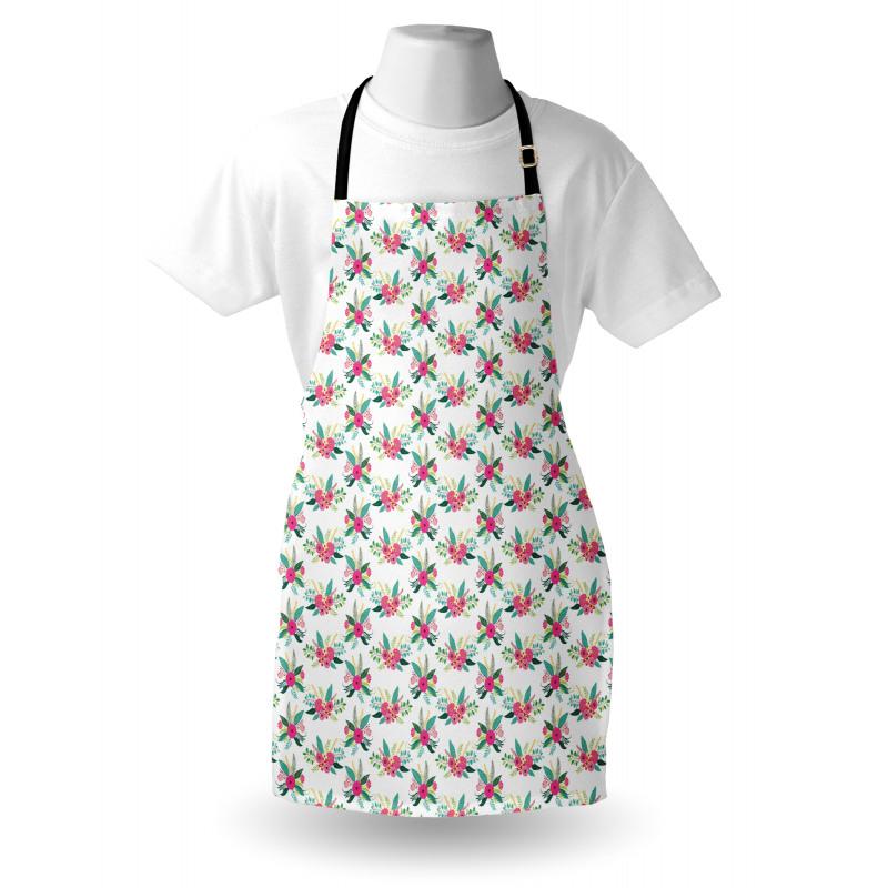 Bahar Mutfak Önlüğü Yeşil Tonlarda Yapraklı Pembe Çiçek Çizimleri
