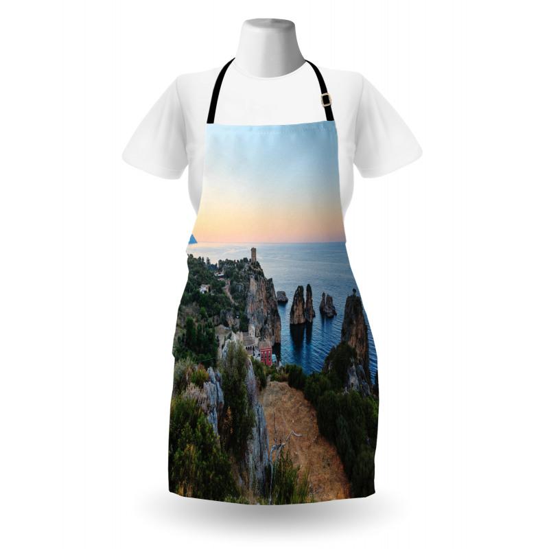 Ada Mutfak Önlüğü Gökyüzü ile Kayalıklar ve Dağ Deniz Manzarası