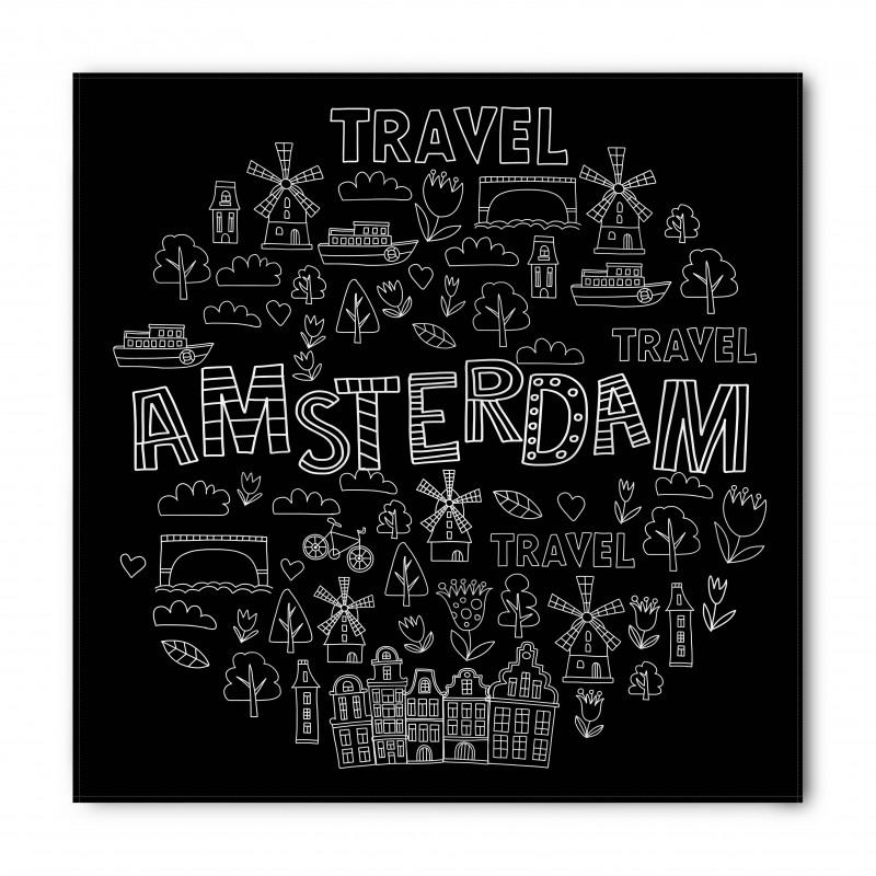 Avrupa Bandana Amsterdam Simgeleri Modern ve Grafik Çizim