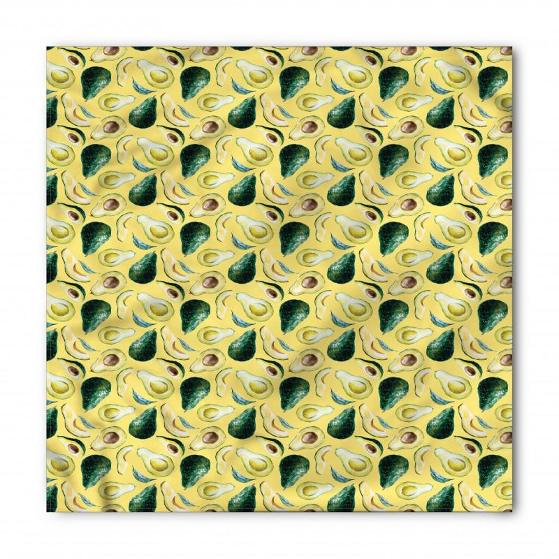 Avokado Bandana Sulu Boya Tarzında Çizilmiş Sağlıklı Meyve