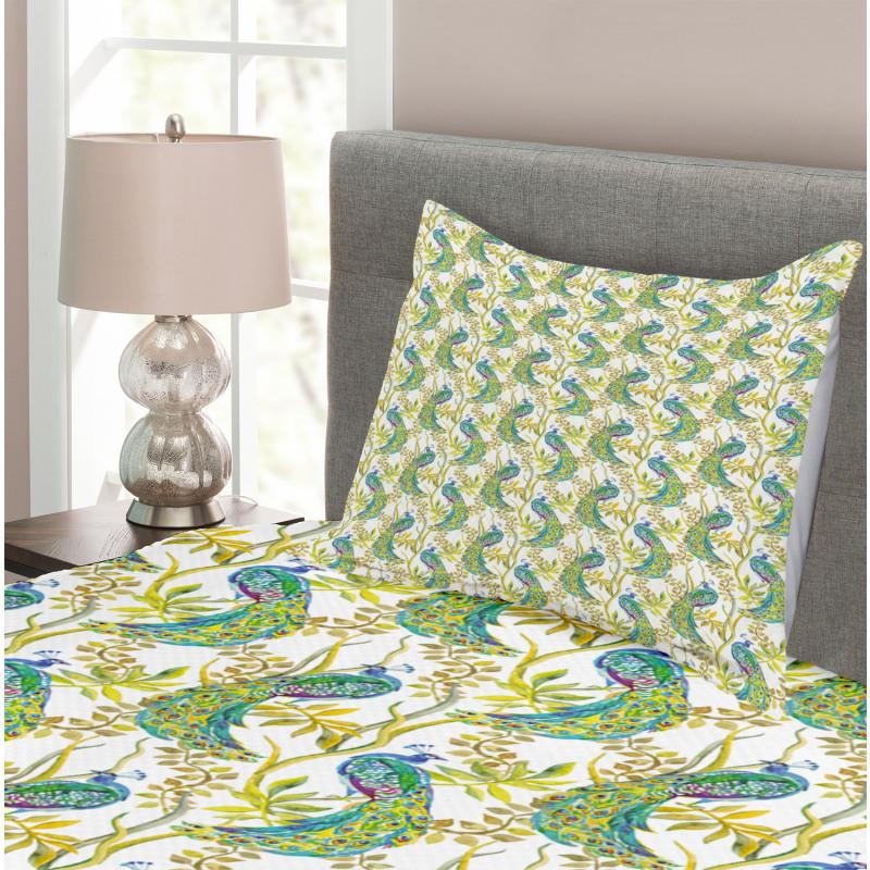 Vivid Birds on Branches Bedspread Set