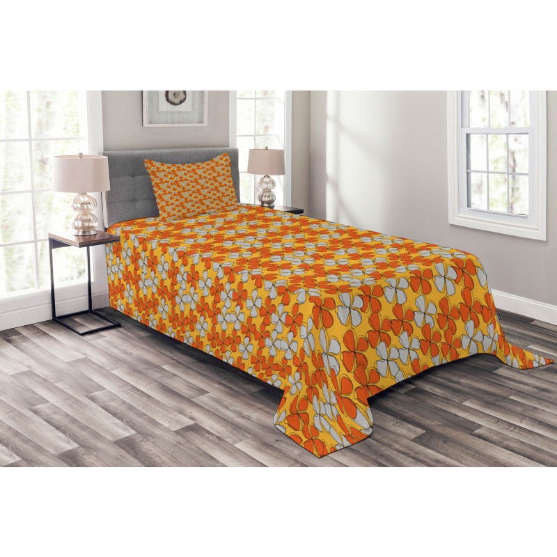 Abstract Autumn Flora Bedspread Set