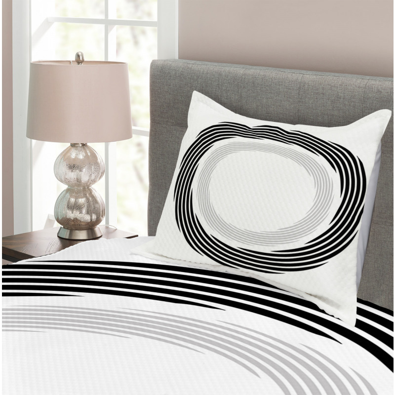 Abstract Art Theme White Bedspread Set