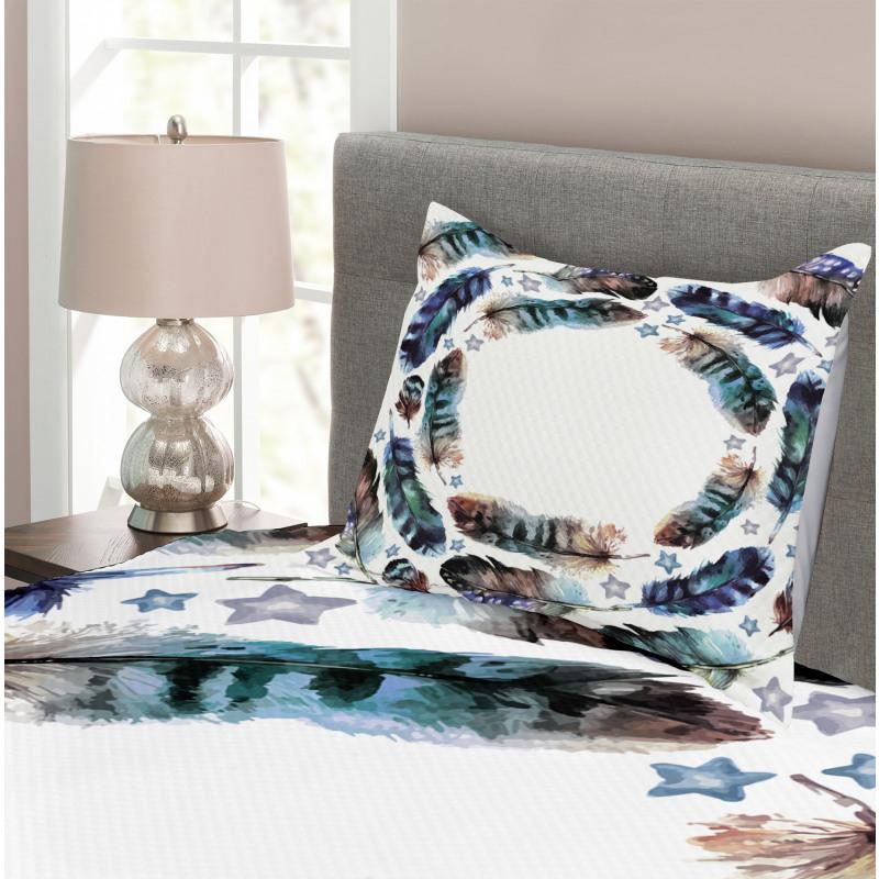 Boho Gypsy Feather Bedspread Set