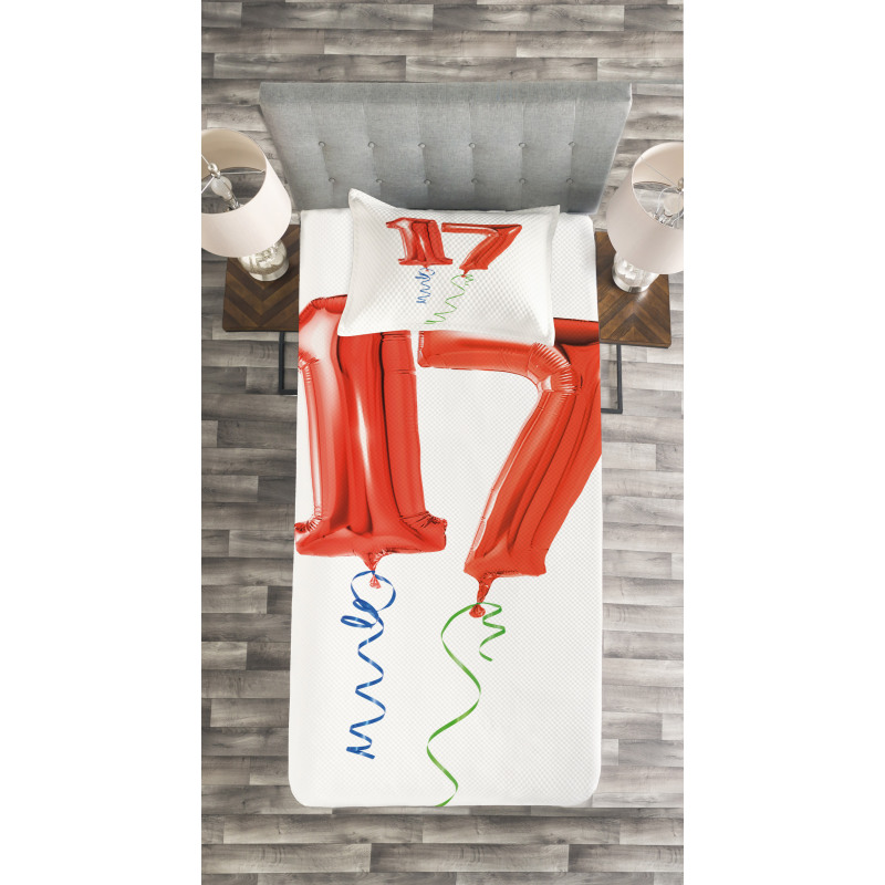 17 Party Red Balloons Bedspread Set