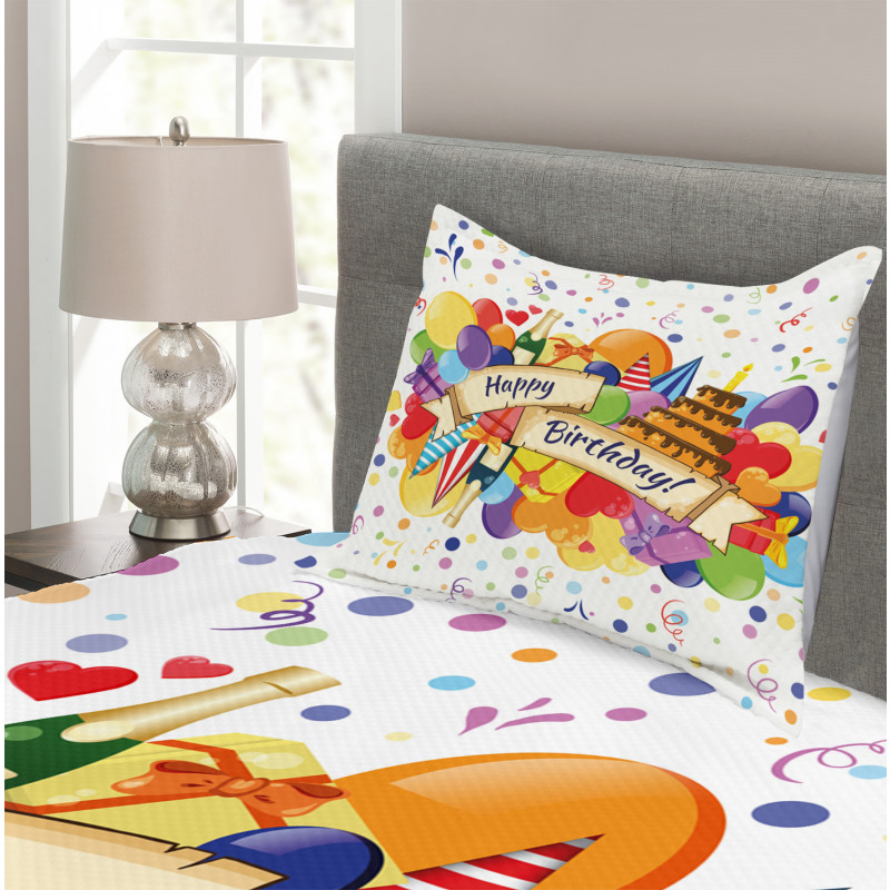 Drinks Cake Balloons Bedspread Set