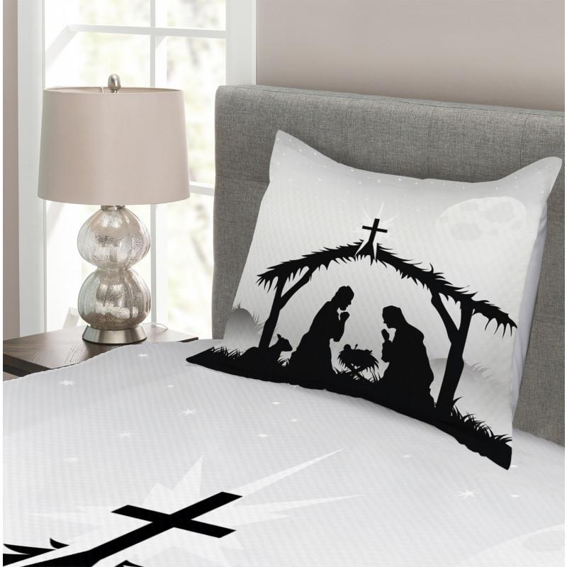 Black Silhouette Barn Sheep Bedspread Set