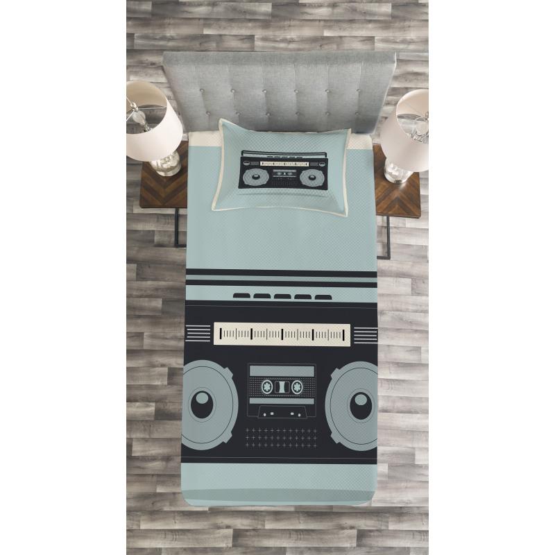 1980s Boombox Image Bedspread Set