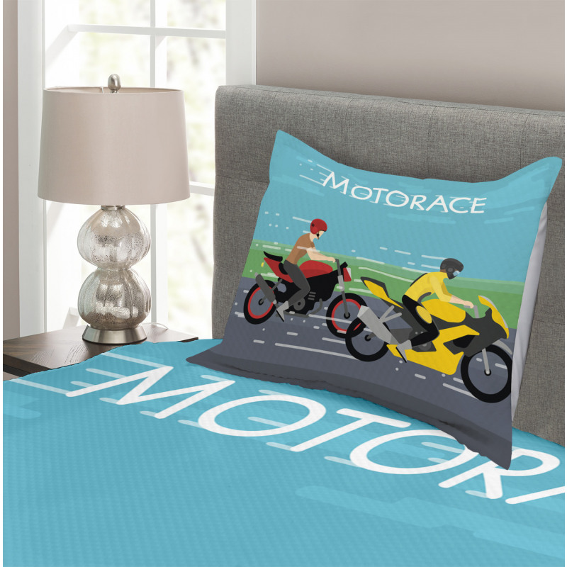 2 Bikers Racing Bedspread Set