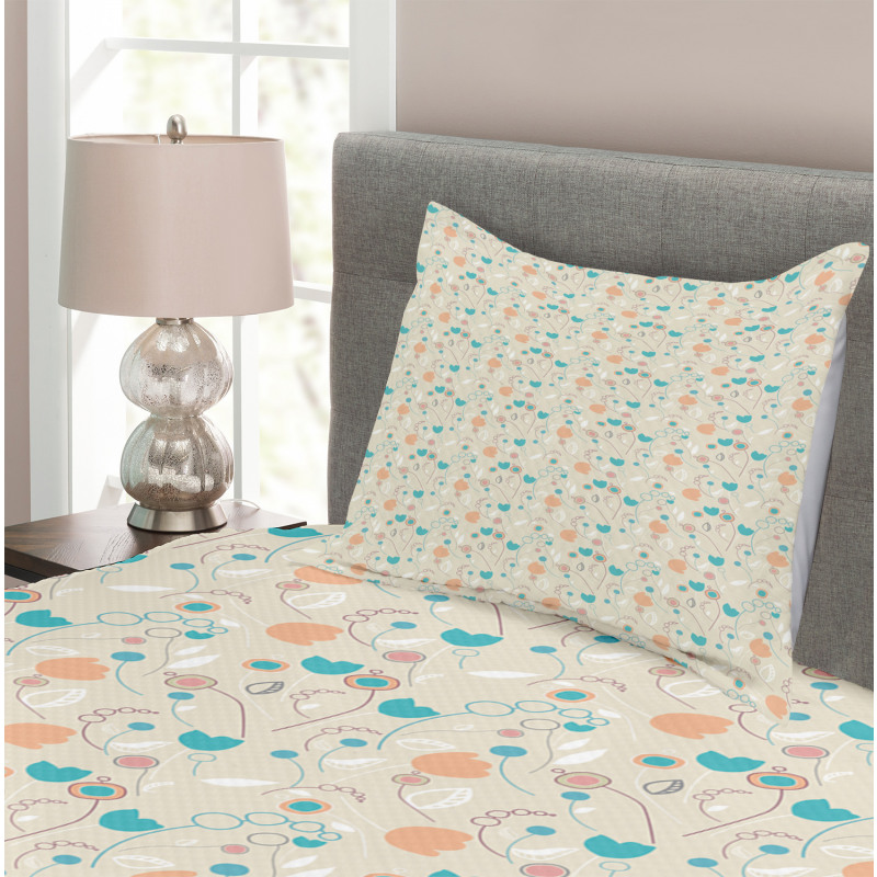 Abstract Art Floral Doodle Bedspread Set