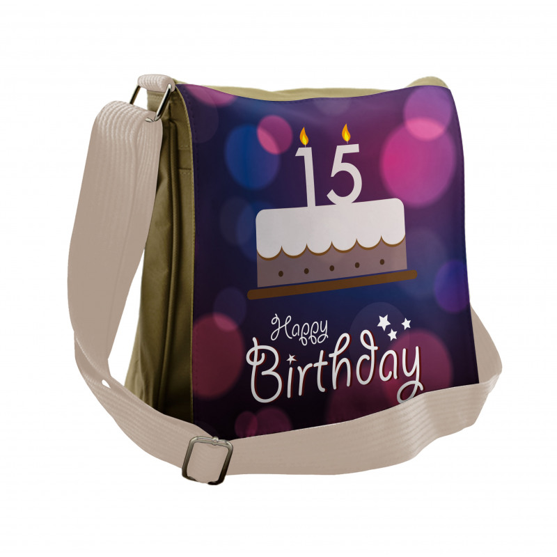15 Birthday Cake Messenger Bag