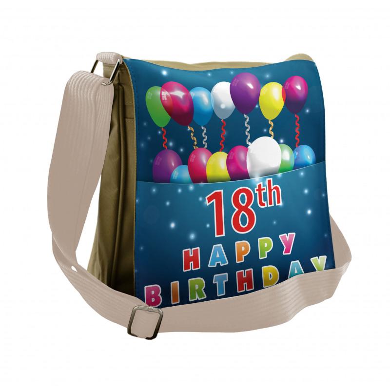 18 Birthday Balloons Messenger Bag
