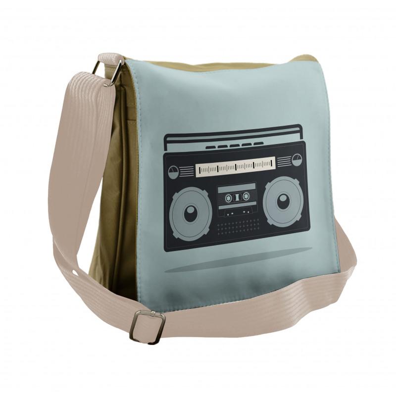 1980s Boombox Image Messenger Bag