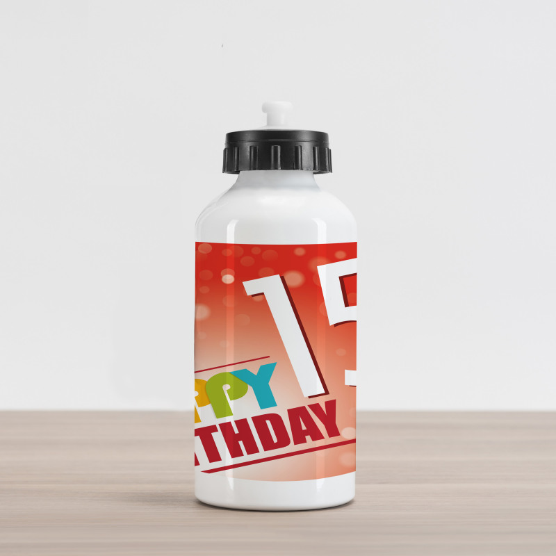 15th Birthday Concept Aluminum Water Bottle