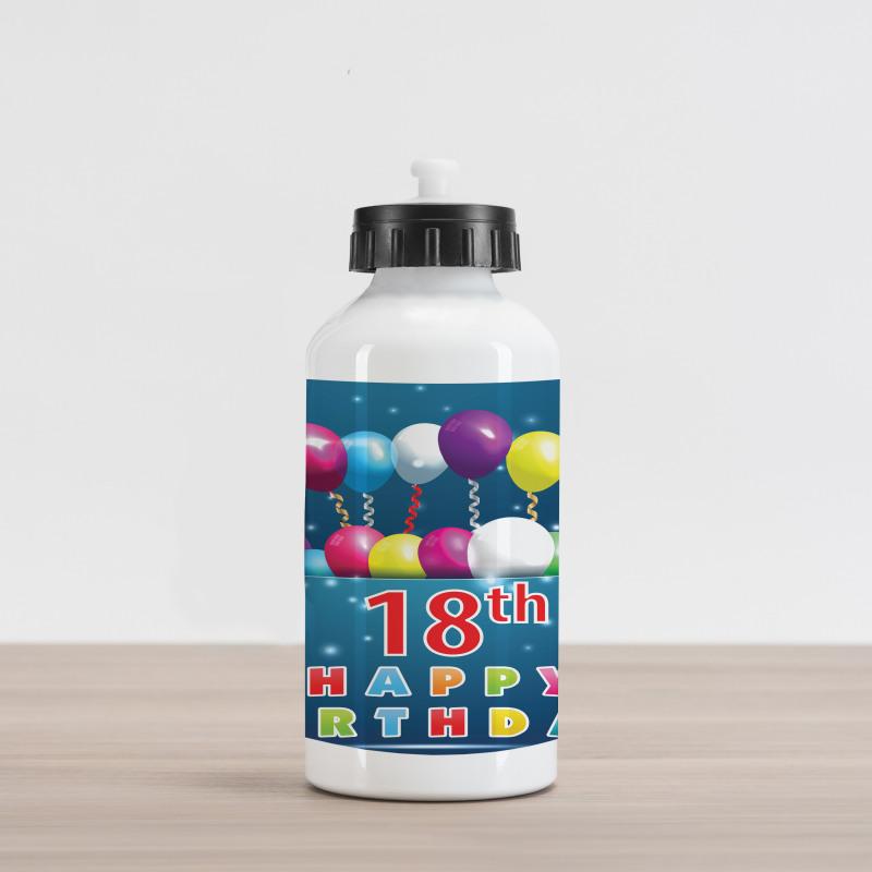 18 Birthday Balloons Aluminum Water Bottle