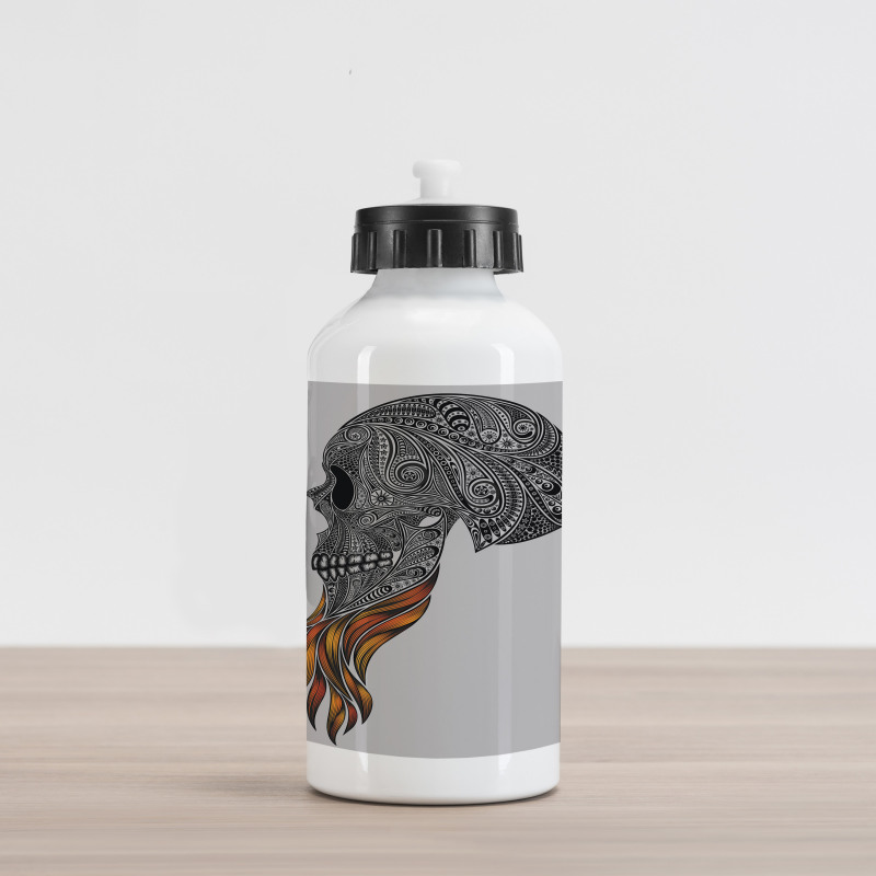 Abstract Art Skull Beard Aluminum Water Bottle