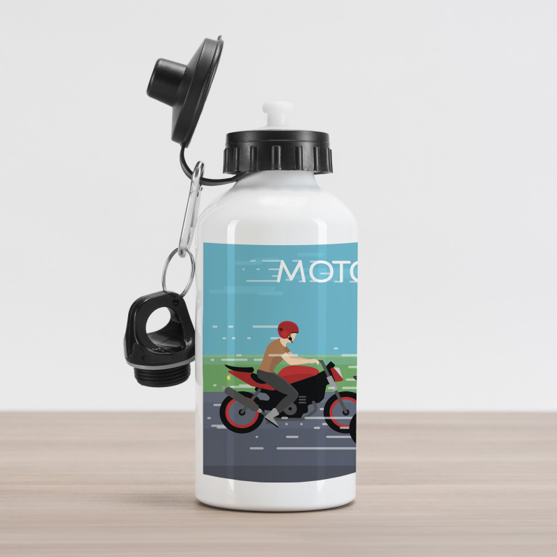 2 Bikers Racing Aluminum Water Bottle